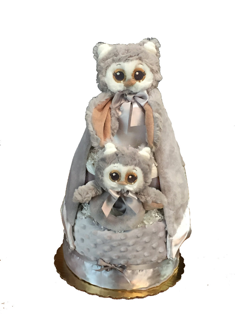 Bearington Owlie diaper cake neutral gender baby gift