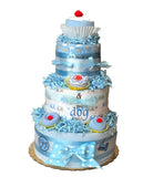 baby shower diaper cake in blue
