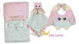 Bearington Lil Hoots owl blanket and bib set