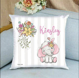 personalized baby gift nursery crib pillow elephant theme