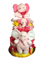 Pink Pink Elephant Baby Girl Diaper Cake