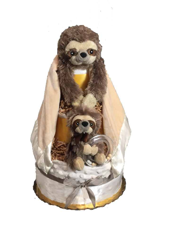 baby sloth diaper cake