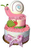 Snail Night Light Diaper Cake-pink, blue, yellow, green