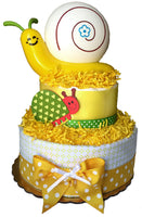 snail lamp diaper cake yellow neutral baby gift