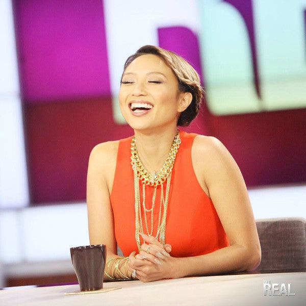 Jeannie Mai The Real Daytime Wearing Nurazzi Necklace