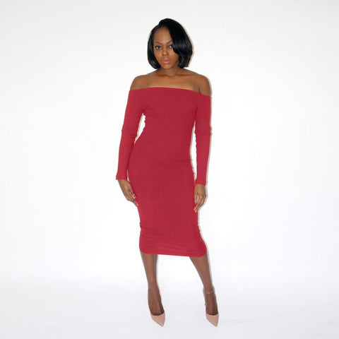 CICI Ribbed Midi Dress - Wine