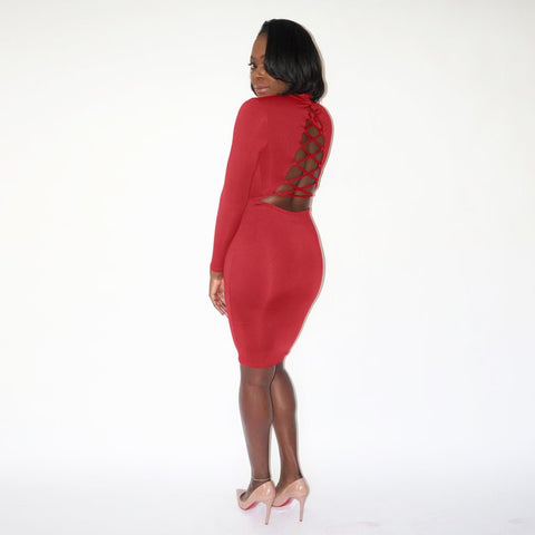 SHAYLA Lace-up Dress - Red