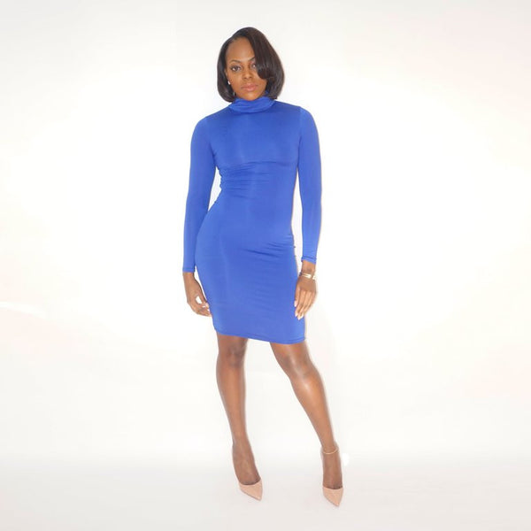 SHAYLA Lace-up Dress - Blue