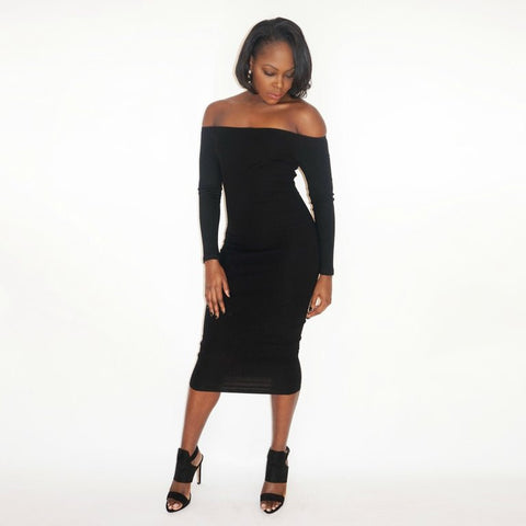CICI Ribbed Midi Dress - BLACK