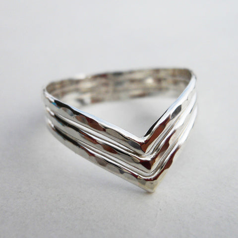 3 Strand Hammered Chevron Ring in Sterling Silver