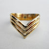 3 Strand Hammered Chevron Ring in Gold Filled