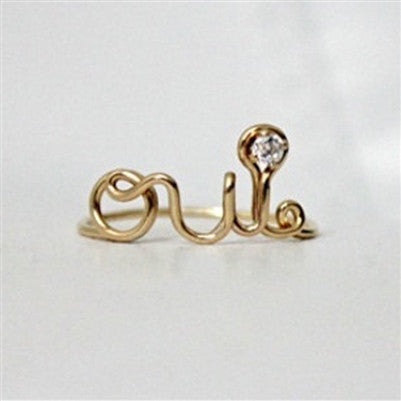 SOLID 14K GOLD OUI RING WITH DIAMOND