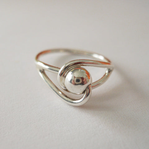 Bead Loop Ring in Sterling Silver