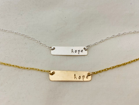 Hope Stamped Bar Pendant