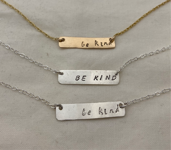 Be Kind Stamped Bar Pendant