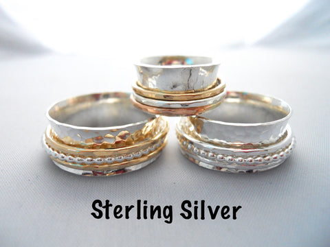 Fidget Spinner Ring - 925 Sterling Silver