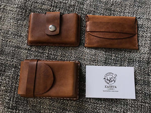 leather brown card holder, minimalist cards wallet
