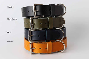 yellow green blue black leather dog collars by kaseta