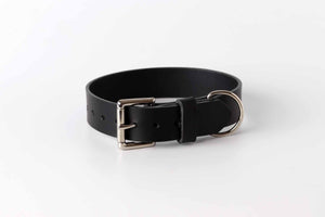 Black leather dog collar by kaseta