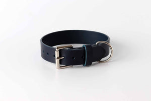 blue leather dog collar by kaseta