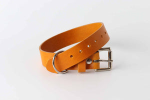 yellow leather dog collar by kaseta