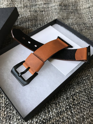 leather apple watch band black or silver , leather strap for 38 & 42 and standard 22mm 24mm