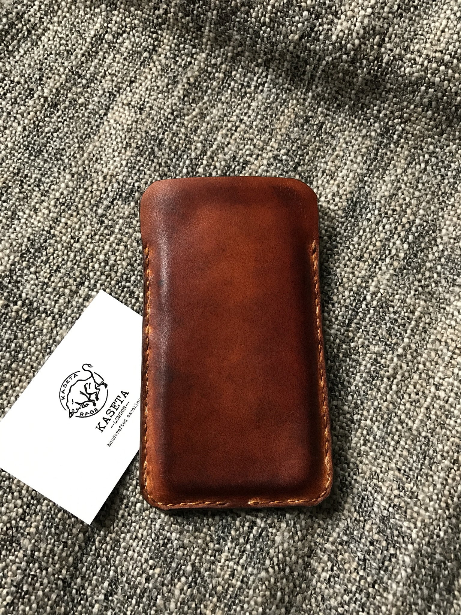 Leather Wallet Sleeve, Card Holder for iPhone 6 6s 7 Old Brown - Kaseta
