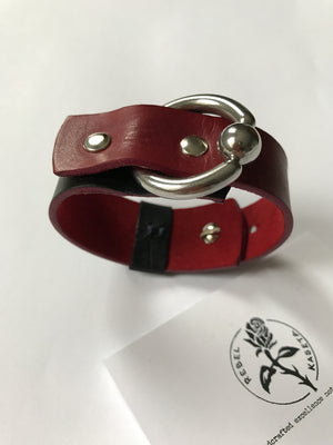 leather wrist wrap for ladies, red soft suede inlay