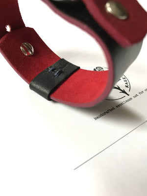 ladies leather bracelet, leather wrist wrap, black , soft red suede inlay