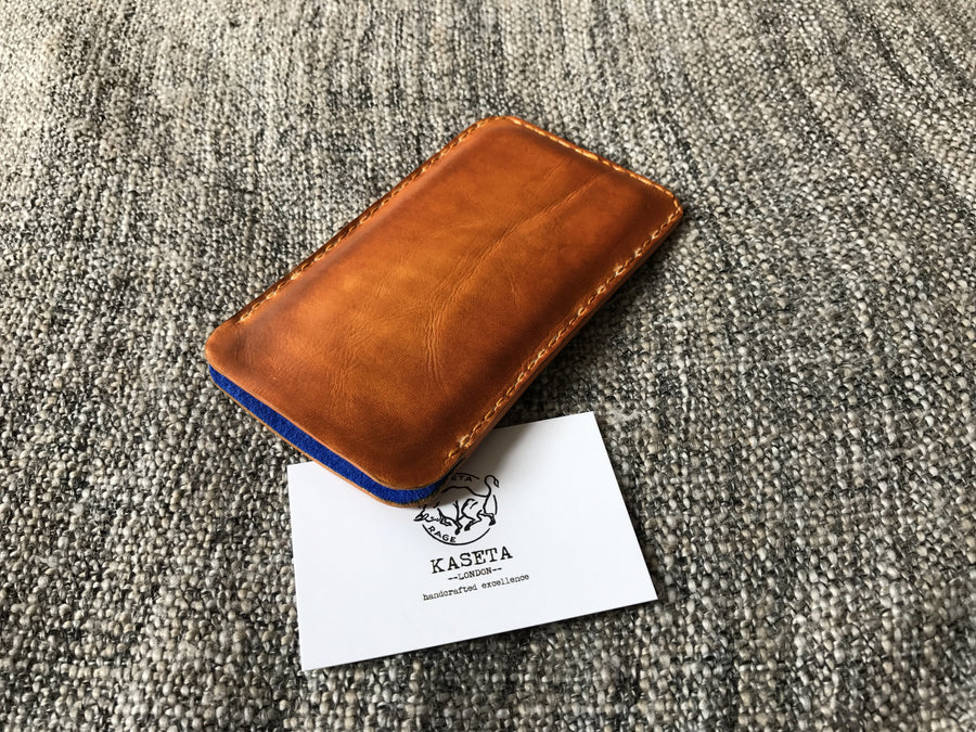 Old Tan leather sleeve, leather pouch,  leather sleeve,  iPhone 7 sleeve