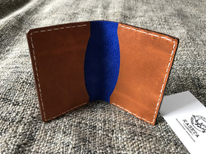 leather card holder, brown leather, blue leather stile card wallet