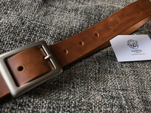 Brandy leather belt - KasetaLeather