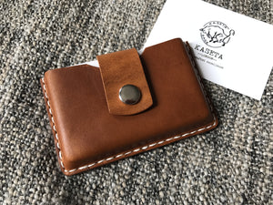 Burned Tan leather card holder by Kaseta