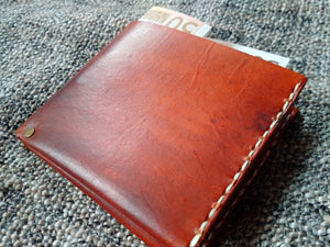 leather wallet hand stitched brown