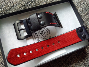 kellon ranneke apple watch,  cinturino in pelle, red black watch band