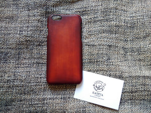 Bull smooth leather iPhone 7 6 & Plus models 'OldMahogany' - Kaseta