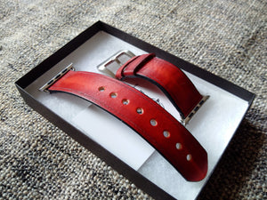 Apple watch leather bracelet old burgundy