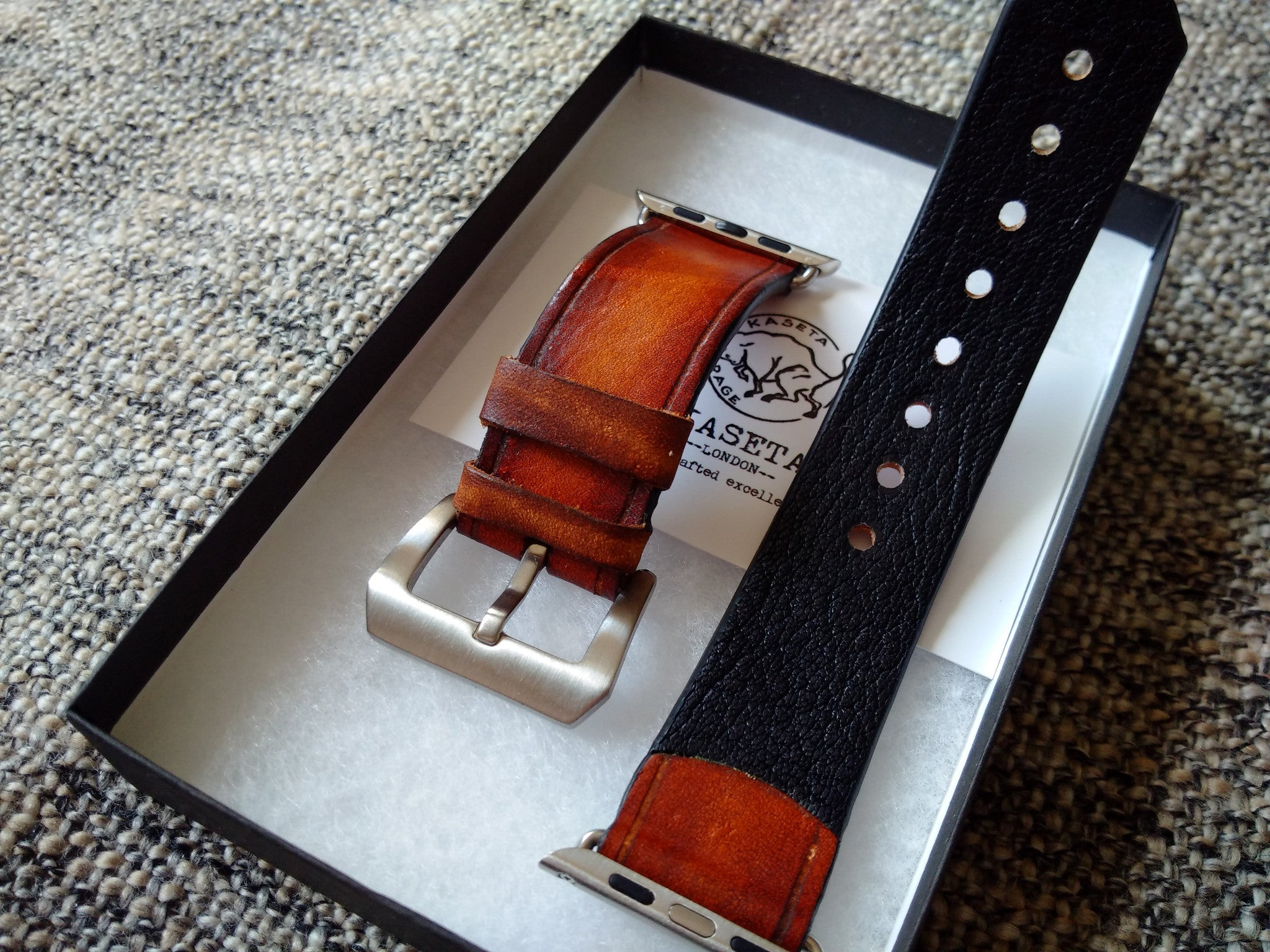 'Gracilis' Leather watch band 'OldBrown' for Apple Watch 1&2 38/42 - Kaseta
