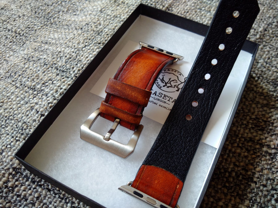 Aged apple watch band, 22mm 24mm leather watch strap