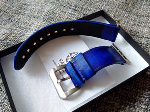 Aged leather Navy blue watch band