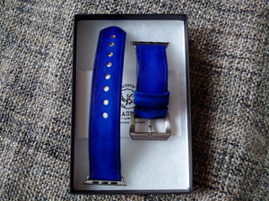 correa de cuero para reloj, aged blue leather watch strap