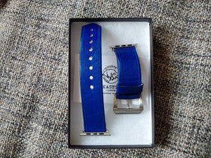 quality leather watch strap blue