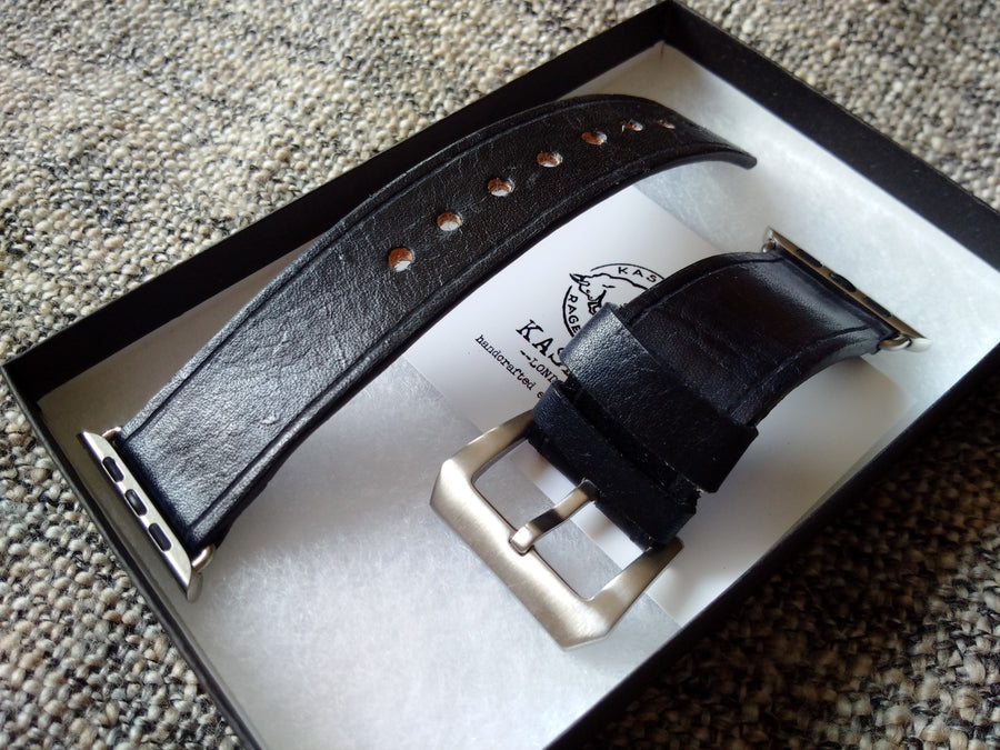 All black leather watch band no stitching, no rivets, no logos