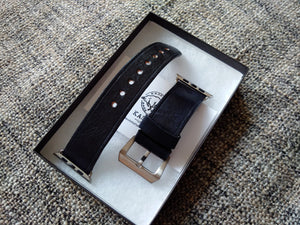 δέρμα μπάντα ρολόι, black leather watch band, kožené hodinky kapela