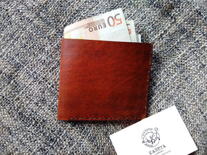 Mens Wallet, Double Leather  'Brown & Blue' - Kaseta