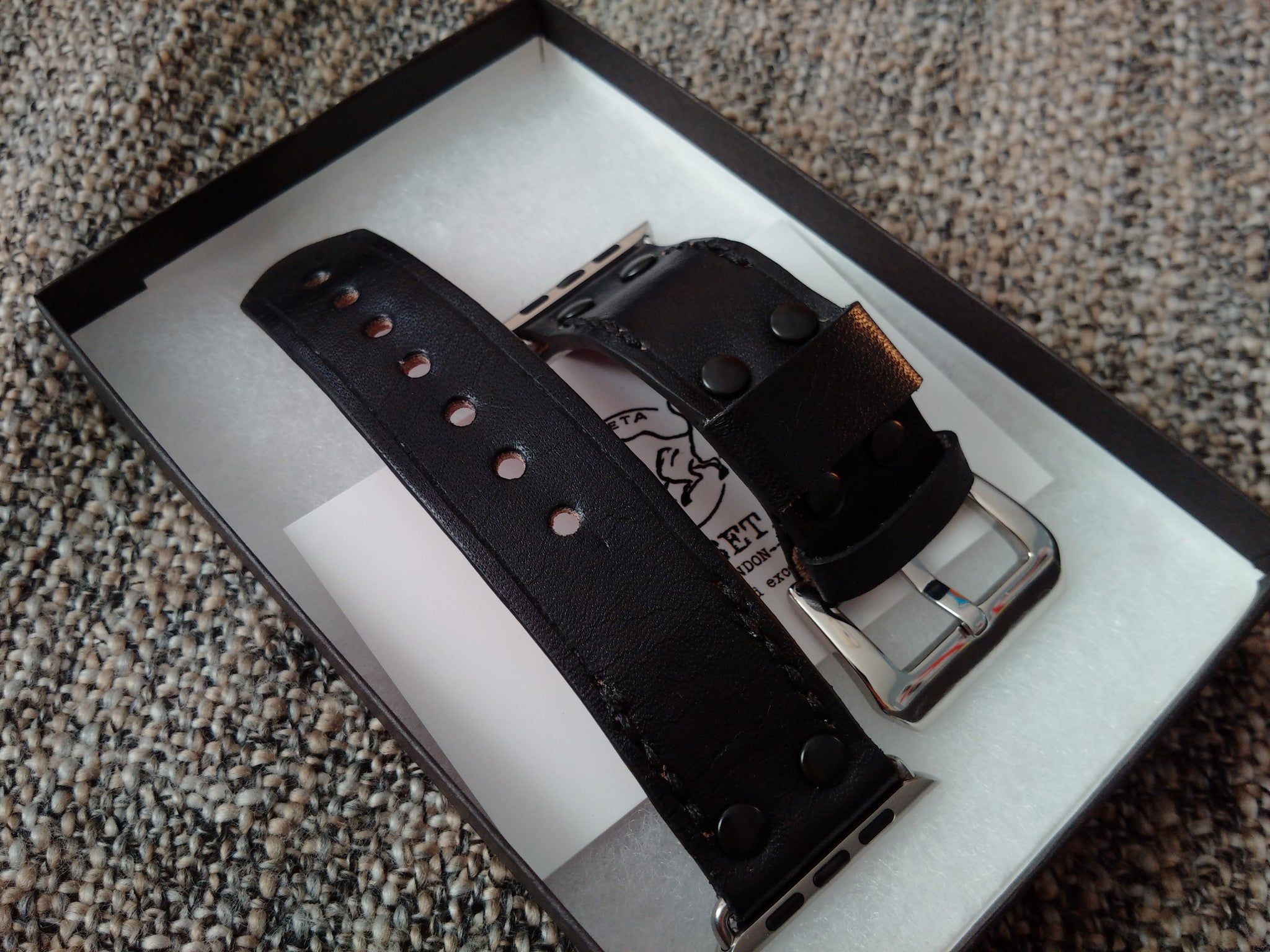 レザー時計バンド , black and red watch band - kaseta
