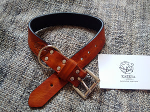 high quality soft leather dog collar brown