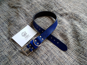 blue leather dog collar, pets collar, luxury collar, padded dog collar