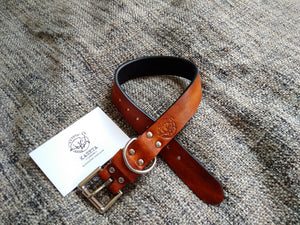 double layer soft leather designer dog collar brown