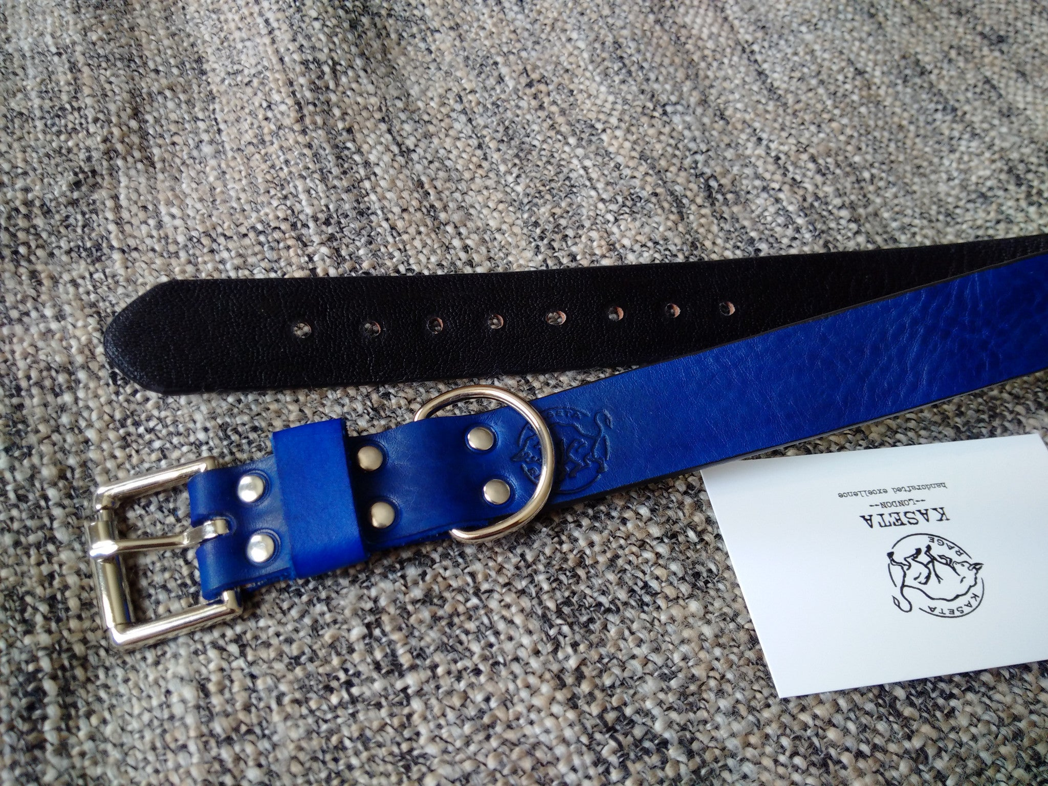 special blue dog collar soft leather